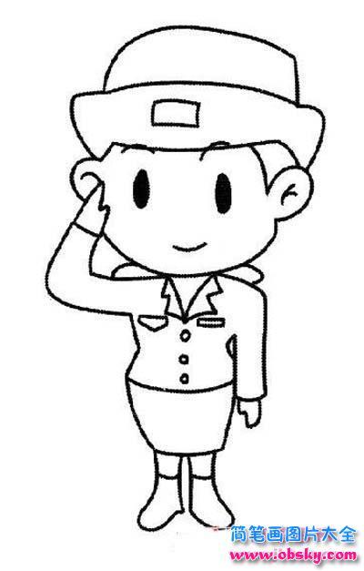敬礼的警察阿姨简笔画图片 警察 儿童简笔画图片大全