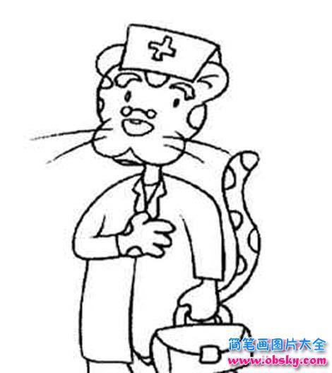 卡通医生简笔画图片 豹子医生 医生 儿童简笔画图片大全