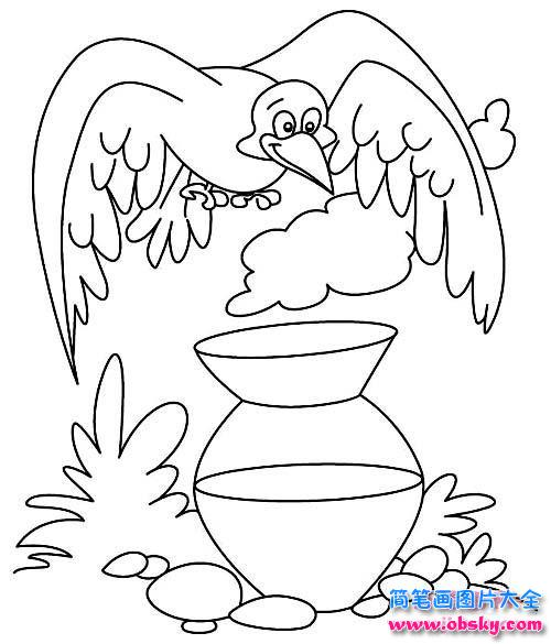 儿童乌鸦喝水简笔画图片 简笔画乌鸦 儿童简笔画图片大全