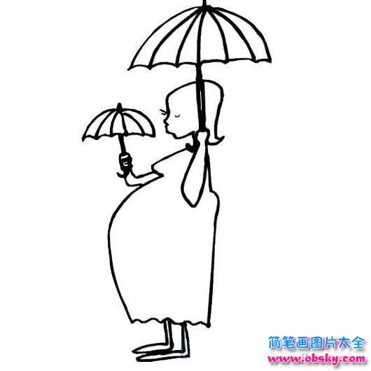 怀孕的准妈妈简笔画图片