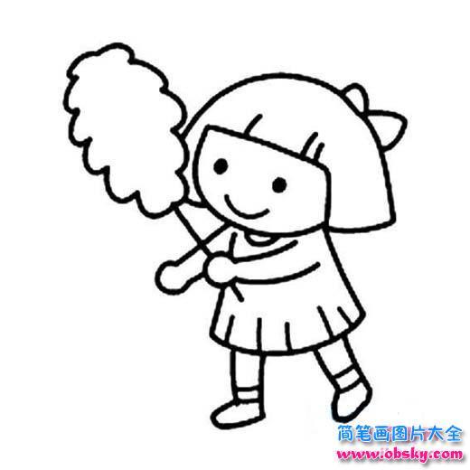 五一劳动节人物简笔画素材图片 掸尘扫房子的女孩 小女孩 儿童简笔画