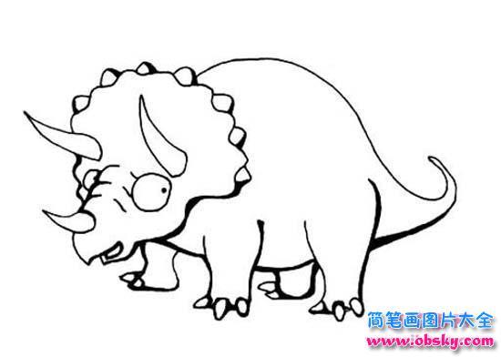 三角龙恐龙简笔画图片