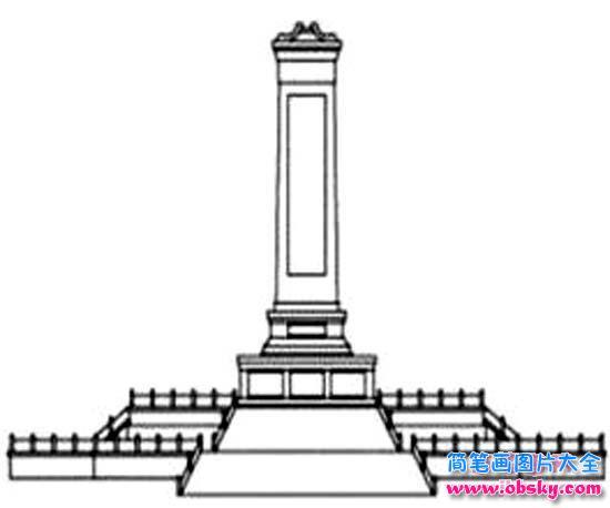 儿童八一建军节节日简笔画图片:八一起义纪念碑