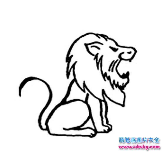 蹲着吼叫的狮子侧面简笔画