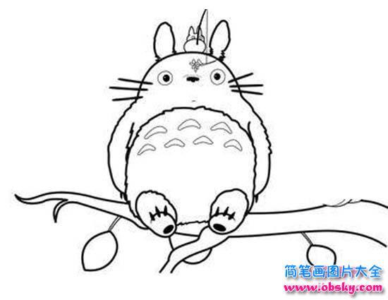 表情 龙猫坐在树上简笔画图片大全 龙猫 儿童简笔画图片大全 表情