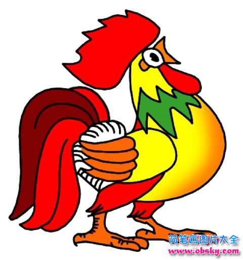 带颜色的美丽大公鸡简笔画图片大全