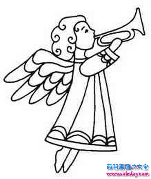 吹号角的天使简笔画图片