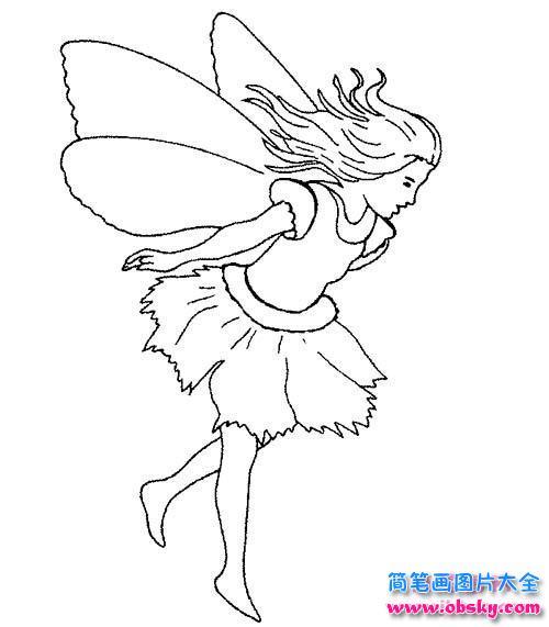 幼儿天使少女简笔画图片
