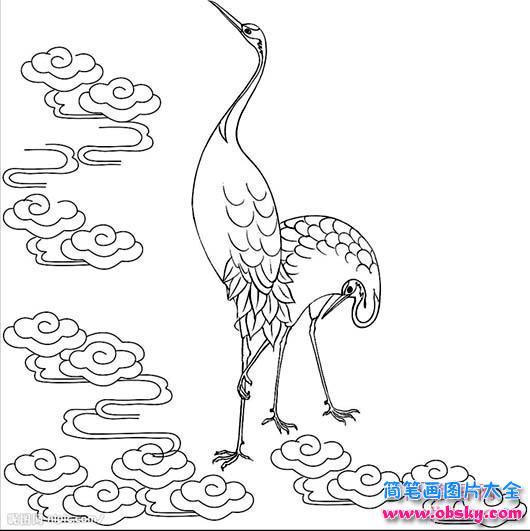 神话中的仙鹤简笔画图片