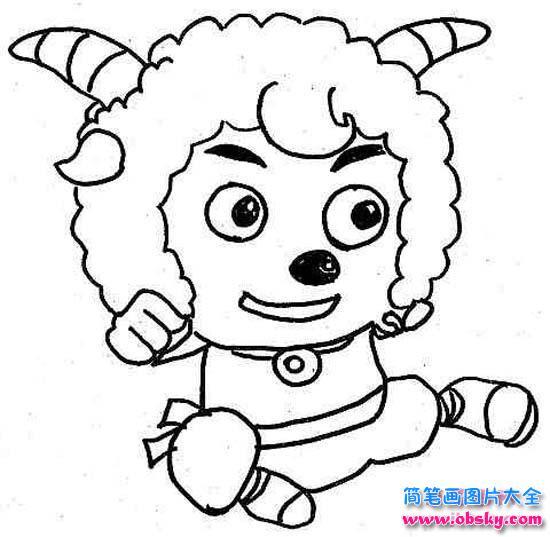 喜羊羊卡通简笔画 喜羊羊 儿童简笔画图片大全