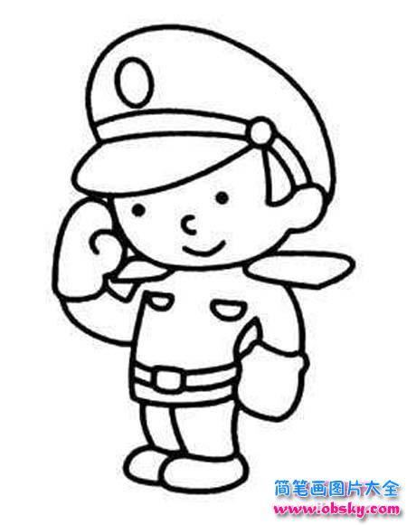 少儿可爱小警察简笔画图片大全 警察 儿童简笔画图片大全