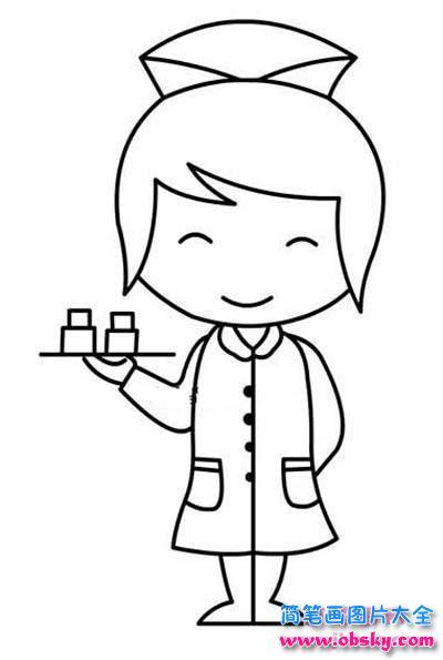 小学生端药的护士简笔画图片
