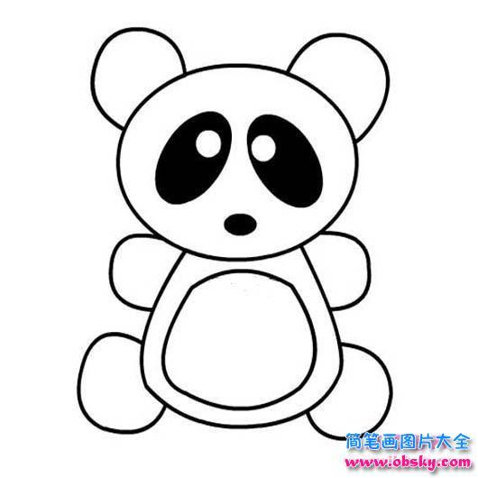 可爱的熊猫简笔画图片