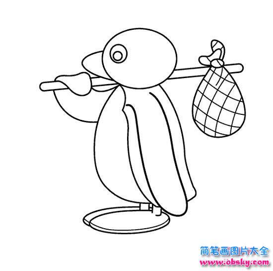 企鹅简笔画:挑着行李的企鹅