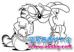 斗气的加菲猫与欧迪简笔画图片