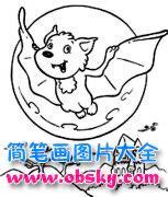 万圣节卡通蝙蝠简笔画图片