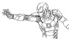 发射掌心炮的钢铁侠简笔画图片