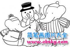 儿童简笔画:大象与雪人
