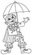 拿伞表演的小丑简笔画图片