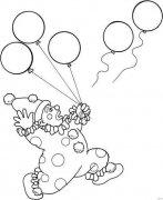 儿童关于拿气球的小丑简笔画图片大全