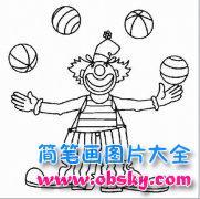 少儿小丑简笔画图片:皮球表演的小丑