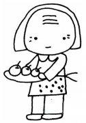 幼儿关于我的奶奶主题简笔画图片:端水果的奶奶