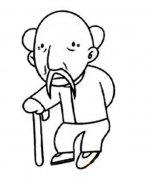 拄拐杖的老爷爷简笔画大全