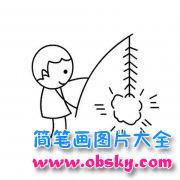 人物简笔画:放鞭炮的小男孩