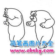 可爱的熊大和熊二简笔画图片