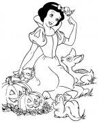 白雪公主与小动物们简笔画图片