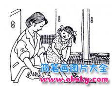 儿童关于妈妈做家务的简笔画图片