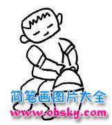 儿童简笔画:提水的男孩