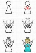 天使简笔画的画法步骤:怎么画天使