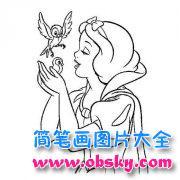 幼儿白雪公主与小鸟简笔画图片