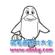 儿童卡通企鹅简笔画