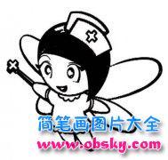 白衣天使简笔画图片:可爱的护士
