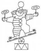 马戏团节目表演的小丑简笔画图片