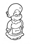 可爱外国老奶奶人物简笔画图片
