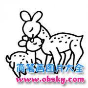小学生简笔画鹿图片:鹿妈妈与小鹿