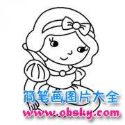 儿童可爱卡通白雪公主简笔画图片