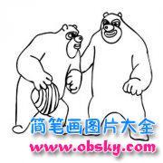 熊出没熊大熊二简笔画图片大全