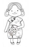元宵节人物简笔画图片:提花灯的小女孩