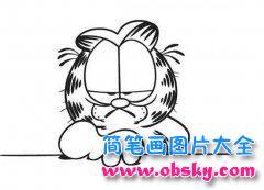 儿童生气的加菲猫简笔画图片大全