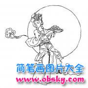 手绘中秋节简笔画图片大全:嫦娥送月饼