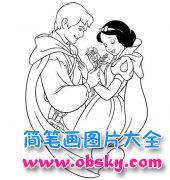 白雪公主与白马王子简笔画图片