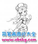 动漫人物嫦娥简笔画图片
