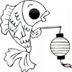 怎么画元宵节卡通大全:金鱼提灯笼简笔画的教程