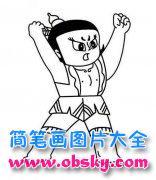 小学生葫芦娃大娃人物简笔画图片