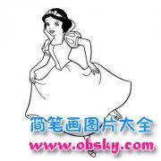 儿童关于美丽的白雪公主简笔画图片
