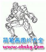 手绘钢铁侠动画人物简笔画图片